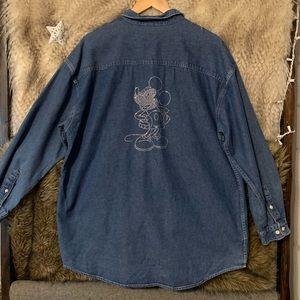Disney Mickey Denim Button Down Bedazzled Shirt